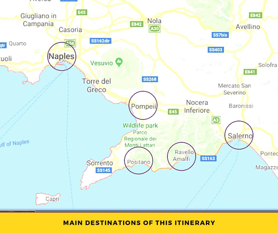 4 days in Campania map
