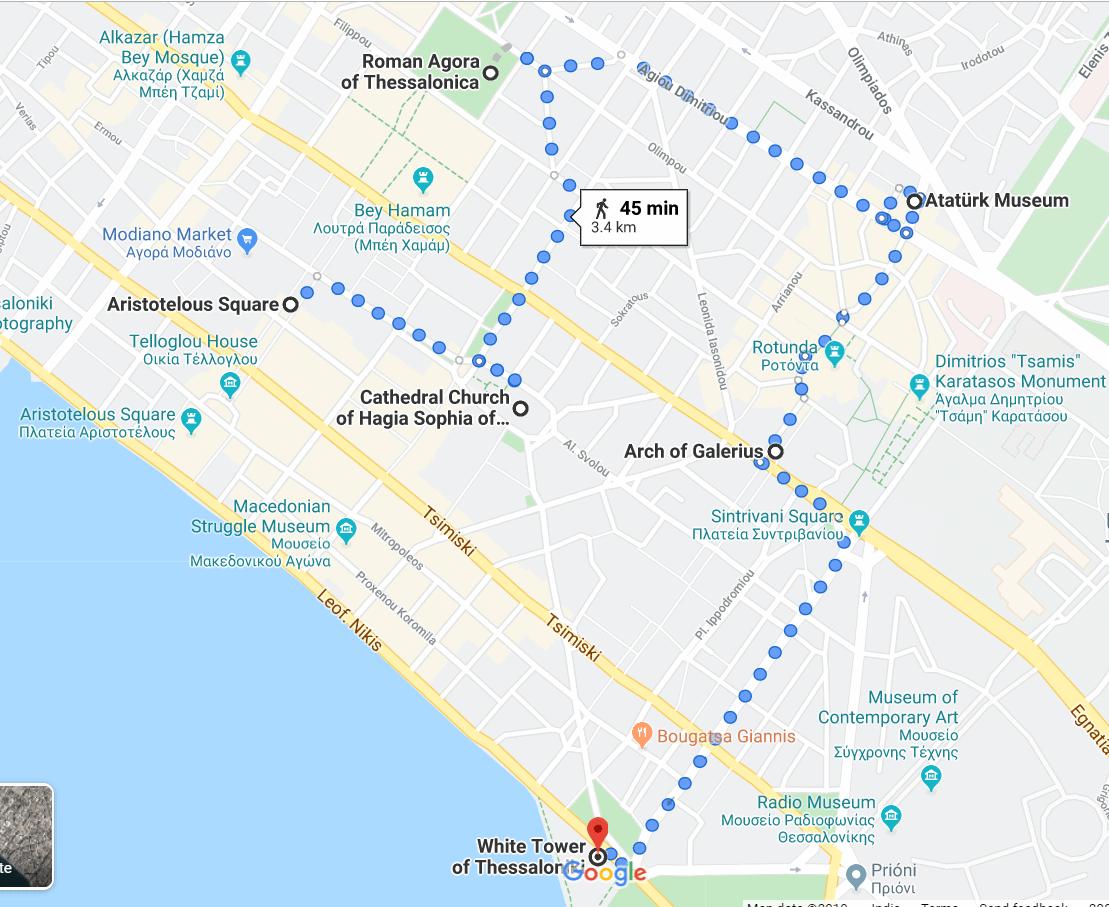 24 hours in Thessaloniki DIY walking map