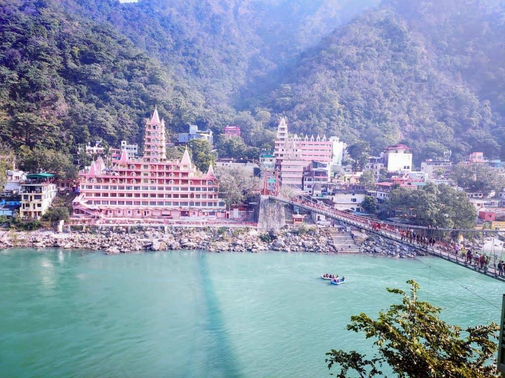 The Tera Manzil Temple - view from Lakshman Jhula